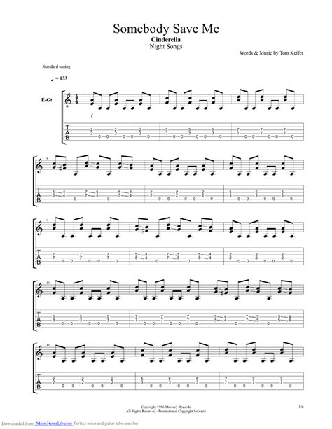 Somebody Save Me guitar pro tab by Cinderella