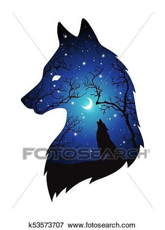 Clip Art of Silhouette of wolf double exposure k53573707